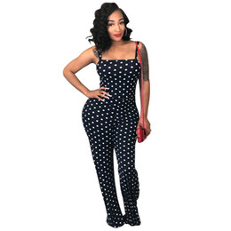 $enCountryForm.capitalKeyWord NZ - Polka Dot Spaghetti Strap Jumpsuit Women Sleeveless Long Playsuits Wide Leg Fashion Overalls Summer Sexy Rompers Womens Jumpsuit