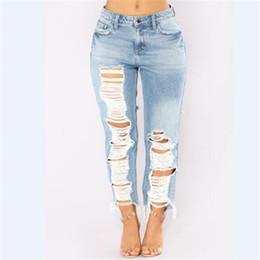 $enCountryForm.capitalKeyWord Canada - Wholesale Free Shipping Women Female Blue Hole Ripped Plus Size 2XL Ladies Destroyed Skinny High Waist Denim Jeans