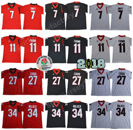 9f9e94ccb Georgia Bulldogs College Football 11 Jake Fromm Jersey Men NCAA 27 Nick  Chubb 34 Herchel Walker 7 D Andre Swift Rose Bowl 2018 Finals Patch