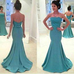 $enCountryForm.capitalKeyWord Australia - Modest Strapless Mermaid Evening Dresses Gowns Lace Chiffon African Arabia Plus Size 2018 Long Party Prom Dresses Formal Wear Robe De Soiree