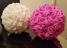 $enCountryForm.capitalKeyWord NZ - Artificial Rose Flower Balls with without Rhinestone Stimulation Foam Balls Wedding Room Parties Decoration Road Lead Twelve Colors
