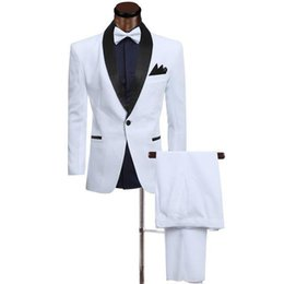 images blazers for white wedding Canada - White,Ivory Groom Tuxedos Men Suits for Wedding Custom Made Groomsmen Suits Slim Fit Best Man Blazers 2 Pieces Jacket Black Shawl Lapel