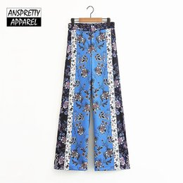 wide leg striped trousers 2019 - Anspretty Apparel bohemian wide leg pants women floral summer boho pants vintage casual striped ladies loose trousers ch