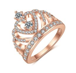 Rose Gold Cluster Engagement Rings Australia - Cubic Zirconia Hollow Heart Crown White Rose Gold Finger Rings CZ diamond Engagement Wedding Bridal Rings Party Jewelry for Sale
