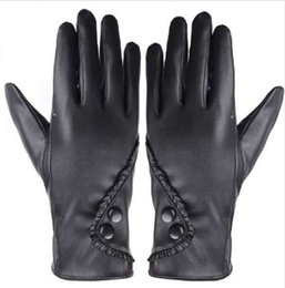 Accessories Leather Gloves Australia - Fashion Women Lady Soft Leather Gloves Winter Warm Mitten Xmas Gift Black accessories gift #5003 Dropshipping
