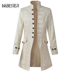 $enCountryForm.capitalKeyWord Canada - NIBESSER Vintage Long Sleeve Men Coat Fashion Plus Size Gothic Brocade Jacket Frock Coat Velvet Trim Steampunk Jacket