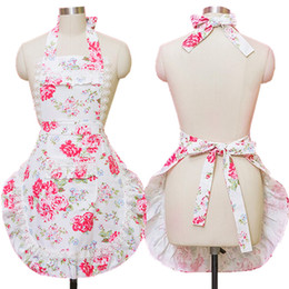 lace aprons 2018 - Home Kitchen Aprons For Women Canvas Lace Flowers Cooking Hairdresser Salon Pinafore Apron Dress Princess discount lace