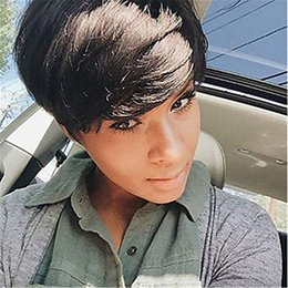 indian hair cuts Australia - Human hair Short wigs for Black women cheap full lace Malaysian Pixie Cut Indian Human hair 100% human hair wigs new wigs