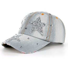 83de498bdd7 New Denim Hats Fashion Leisure Woman Cap With Water Drop Rhinestones  Vintage Jean Cotton Baseball Caps For Men Hot Sale