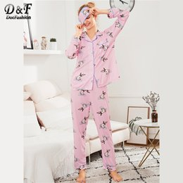 Discount collar bound - Dotfashion Contrast Binding Rabbit Print PJ Set With Eye Mask Spring Fall Ladies Pink Button Pocket Collar Long Sleeve N