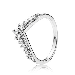 Chinese  925 Sterling Silver Princess Wish With Clear Cubic Zircon Stone Fit Pandora Jewelry Engagement Wedding Lovers Fashion Ring For Women manufacturers