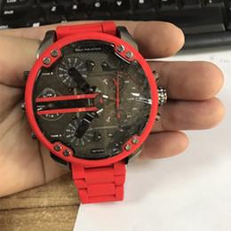 Esportes DZ Mens Relógios ponteiro Duplo Grande Mostrador de discagem 52mm Top Marca de luxo relógio de Quartzo Relógio de Aço Banda 7370 Moda relógios de Pulso Para Homens