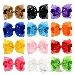 $enCountryForm.capitalKeyWord NZ - Hot sale 12 Colors JOJO Bow style 8 inch Ribbed ribbon Big Bowknot with Pearl Girl Barrette Beautiful Hair Ornament headwear