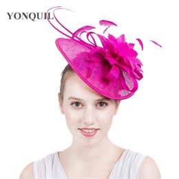 Pretty Hair For Australia - 17 Colors choose pretty Fascinator hats for lady church party kentucky derby sinamay fancy feather flower hats hairbands retail SYF114