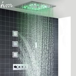Chinese  hm Rain And Mist LED Ceiling Shower Fauct Tap 20 Inch Tempetatures Change Bathroom Shower Kit 3 Pcs Body JetsMixer Shower manufacturers