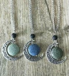 $enCountryForm.capitalKeyWord Australia - Colorful Aromatherapy Lava Stone Moon Charms Pendant Essential Oil Diffuser Necklace Lava Jewelry