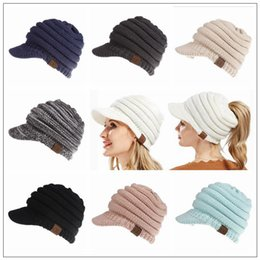 Camping hiking hats online shopping - 12 Colors Winter Knitted CC Hats CC Knitted Beanies Fashion Winter Ponytail Hat Back Hole Caps Casual Beanies Outdoor Hats CCA10004