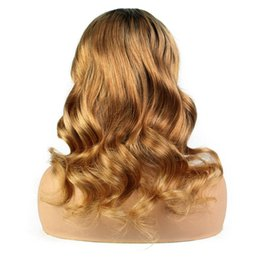 Chinese  LIN MAN 130% Density Body Wave Lace Front Human Hair Wigs 10-24 Inch Ombre Remy Hair Pre Plucked Lace Wigs Side Part manufacturers