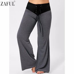 Discount xxxl plus size yoga pants - ZAFUL Yoga Pants Women Plus Size Dance Yoga Two Tone Lace-up Flare Pants Sports Exercise Fitness Running Jogging Trouser
