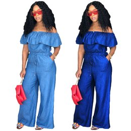 39741005b2f Spring Summer Fashion Loose Women Jumpsuits Rompers Strapless Jeans Jumpsuit  Off-Shoulder Belt Ruffle Wide Leg Pants Casual S-XXL