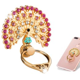 Peacock Open Finger Ring Holder Metal Diamond Multi Functional Lazy Folding Paste Soporte para anillo de teléfono móvil para Iphone 7 8 X Samsung S6 S7