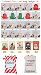 2018 Sacos de Presente de Natal Saco de Lona Grande Saco de Lona Saco de Cordão Com Sacola de Renas Orgânicos Papai Noel Sacos de Papai Noel para crianças em Promoção