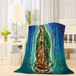Venta al por mayor de La manta de la manta de tiro de franela proporciona una sensación de suavidad y una calidez acogedora, Virgen María de Guadalupe