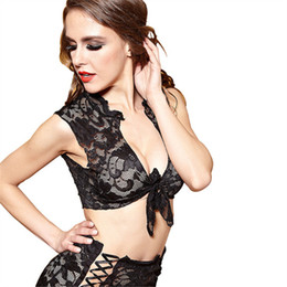 sexy lenceria americana americana al por mayor-Sexy Lingerie New Black Lace Strap Conjunto de ropa interior europeo y americano Sexy Lace Three Point Adult Pyjamas Set