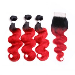 black red hair dye UK - Two Tone 1B Red Body Wave Ombre Hair Bundles with Lace Closure Black to Red Ombre Brazilian Human Hair Weaves with Top Closure
