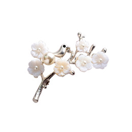 Hijab bouquets online shopping - New Luxury Bijoux Plum Leaf Flowers Epoxy Corsage Wedding Broach Bouquet Hijab Pin Brooches Party Women haif