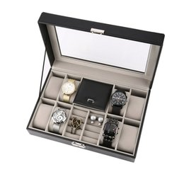 Wholesale 2 In One Grids Mixed Grids Black Leather Jewelry Ring Watch Box Case Jewelry Storage Box holder Luxury Casket Display