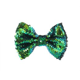 Chinese  9PC 5inch Reversible Mermaid Sequins Hair Bow With Clip DIY Pattern Flip Sequin Hairpins Hairgrip Women Children Hair Acessories manufacturers