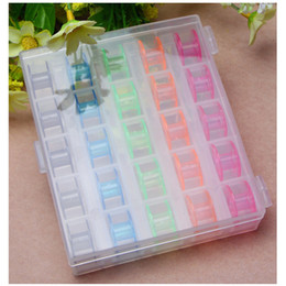 Colorful Modern Bedding NZ - 25 Grid Clear Storage Case Box with 25Pcs Empty Colorful Bobbins Spool for Brother Janome Singer