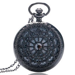 rose acrylic UK - Vintage Pocket Watch, Black Spider Web and Antique Rose Flower Pocket Watch, Chain Necklace Pendant Gift for Men