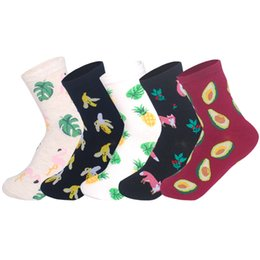 $enCountryForm.capitalKeyWord NZ - LIONZONE 5 Pairs lot Ins Hot Women Cotton Fruits&Animal Socks Fox Flamingo Pineapple Banana Novetly Funny Socks