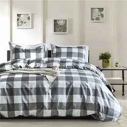 chinese quilt covers 2020 - Simple Gray Plaid Pattern 2 3pcs USA Twin Queen King Bedding Sets Kids Duvet Cover Set Quilt Cover Bed Set Double Bedclo