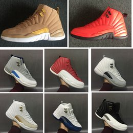 summer suede shoes mens 2019 - New 12s Wheat Mens basketball shoes French Blue Sneakers Gym red Wolf Grey outdoor XII 12 athletic sports footwear size