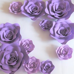 $enCountryForm.capitalKeyWord NZ - 11pcs Giant Foam Paper Flowers Mix Lilac Purple For Showcase Wedding Backdrop Background Activities Decoration Stage Props
