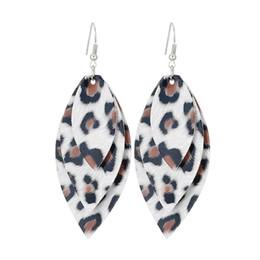 Leopard saLe online shopping - hot sales PU leather drop earrings fashion women statement leopard leather leaf dangle arrings for women banquet multilayer designer jewelry
