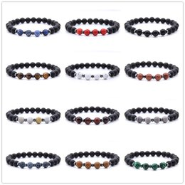 natural colour beads NZ - 18 colour Natural Stone Beads Volcanic lava rock beads Bracelet Women And Men turquoise Stretch Stramds Bracelets Bangle Yoga jewelry