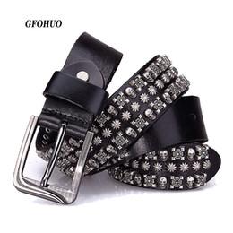 Discount belt riveted men - Punk Rock Belts Geometry Pattern for Men Male Rivet Studded Belts First Layer of Cowskin Hip Pop Decorative For Jeans
