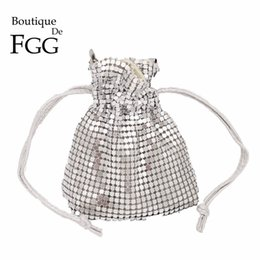 Ladies Evening Handbags Australia - Boutique De FGG Luxury Handbags Women Bag Designer Aluminum Bucket Mini Evening Bags Coin Purse Ladies Party Clutch Handbag