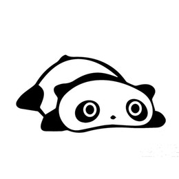 Panda mirror online shopping - 15 CM lovely lying panda cartoon style car bumper sticker black silver
