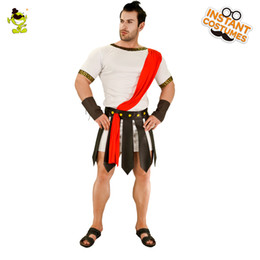 King pharaoh costume online shopping - Caesar Costume Men Toga Greek Cosplay Pharaoh Costumes Halloween Party White Outfits King Emperor of Rome for Adult Male