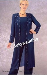 $enCountryForm.capitalKeyWord NZ - Royal Blue Mother of the Bride Pants Suits Beaded Long Sleeves Chiffon Plus Size Women Formal Dresses Evening Wear Custom Made