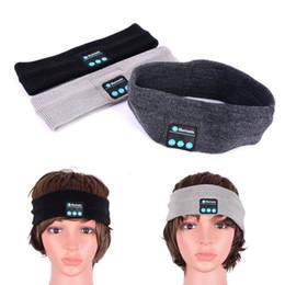 Wireless Headphones Mic Blue Australia - Bluetooth Headband Headwear Headphones Earphones Wireless Mic Music Knitted Sports Anti-sweat headband