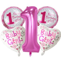 5 Pieces Baby 1st Birthday Balloons Set Pink Blue Number Foil Party Decorations Kids Decoration Supplies