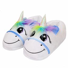 ShoeS pluSh toy Slipper online shopping - rainbow horse toy cotton tow warm shoes rainbow unicorn plush slippers