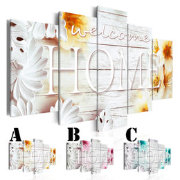 Multi Set Canvas Prints Australia - Wall Art Picture Printed Oil Painting on Canvas Unframed Multi-picture Combination 5pcs set Home Decor Extra Mirror Border Welcome Home