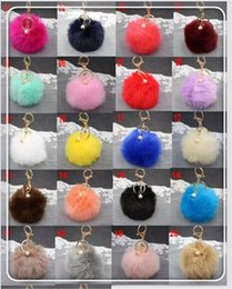 White Pearl Pink Car NZ - Rabbit Fur Ball Keychain Soft Fur Ball Lovely Gold Metal Key Chains Ball Pom Poms Plush Keychain with Pearl Car Keyring Bag Accessories